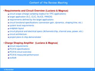 Content of the Review Meeting