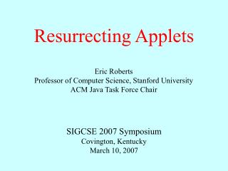 Resurrecting Applets