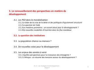 3. Le renouvellement des perspectives en matière de développement