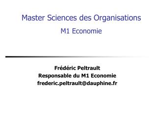 Master Sciences des Organisations M1 Economie