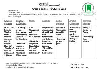Grade 2 Update – Jan. & Feb.  2014