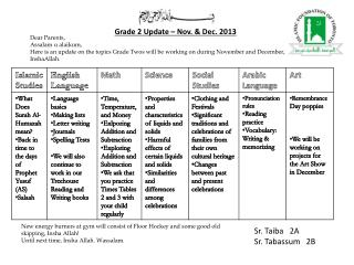 Grade 2 Update – Nov. & Dec. 2013