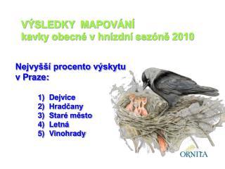 VÝSLEDKY  MAPOVÁNÍ kavky obecné v hnízdní sezóně 2010
