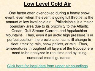 Low Level Cold Air