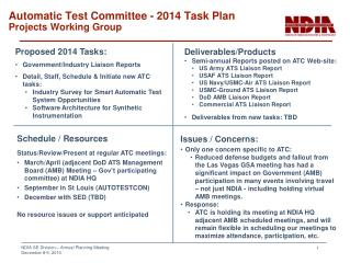Automatic Test Committee - 2014 Task Plan Projects Working Group