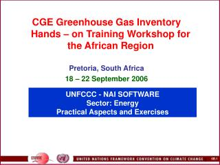 UNFCCC - NAI SOFTWARE  Sector:  Energy Practical Aspects and Exercises