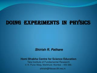 Doing  Experiments  in  Physics