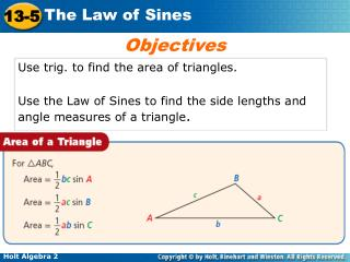 Use trig. to find the area of triangles.