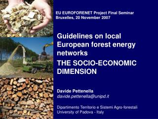 Guidelines on local European forest energy networks THE SOCIO-ECONOMIC DIMENSION Davide Pettenella