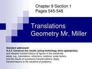 Translations Geometry Mr. Miller