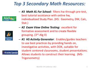 Top 3 Secondary Math Resources: Math