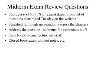 Midterm Exam Review Questions