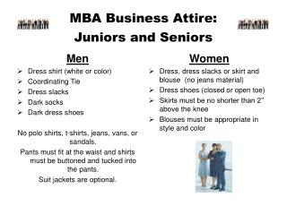 MBA Business Attire: Juniors and Seniors