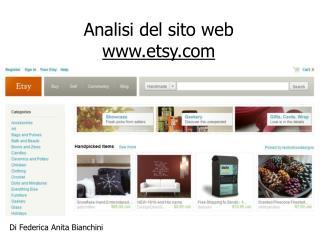 Analisi del sito web  etsy