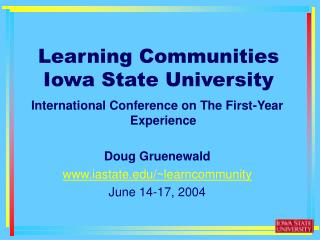 Learning Communities Iowa State University