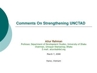 Comments On Strengthening UNCTAD