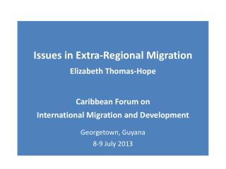 Some Critical elements of the current migration pattern in terms of development
