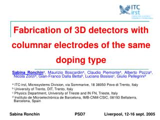 Fabrication of 3D detectors with columnar electrodes of the same doping type
