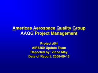 Americas Aerospace Quality Group AAQG Project Management