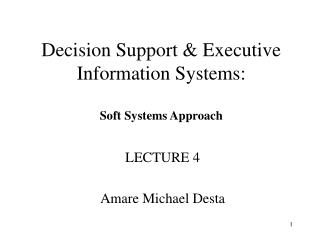 Decision Support & Executive Information Systems: Soft Systems Approach