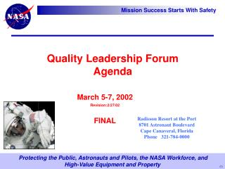 Quality Leadership Forum Agenda