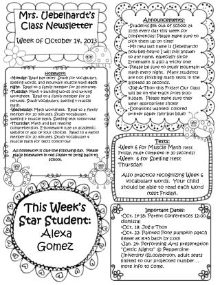 Mrs.  Uebelhardt's  Class Newsletter Week of October  14,  2013