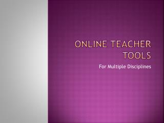 Online teacher tools