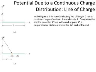 Potential Due to a Continuous  Charge  Distribution: Line of Charge