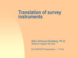 Translation of survey instruments