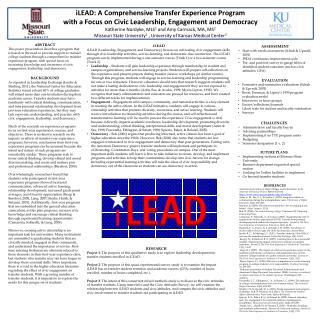 iLEAD: A Comprehensive  T ransfer  E xperience  P rogram