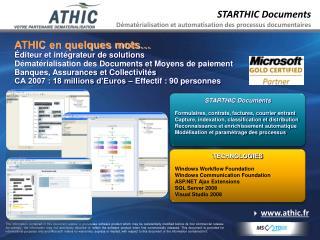 STARTHIC Documents Dématérialisation et automatisation des processus documentaires