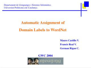 Automatic Assignment of Domain Labels to WordNet
