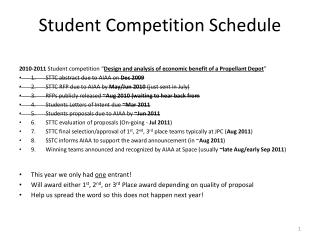 Student Competition Schedule