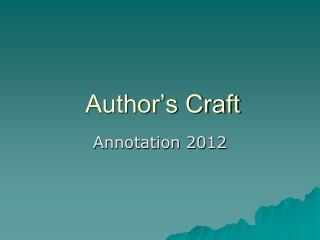 Author�s Craft