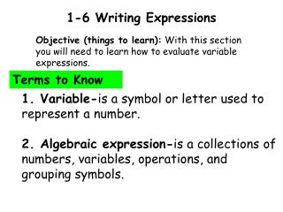 1-6 Writing Expressions