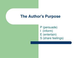 The Author's Purpose