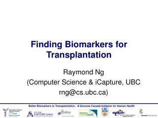 Finding Biomarkers for Transplantation
