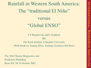 "Rainfall in Western South America:   The ""traditional El Niño""  versus  ""Global ENSO"""