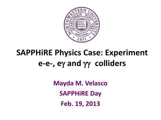 SAPPHiRE  Physics Case: Experiment e- e -,  e g and  gg colliders