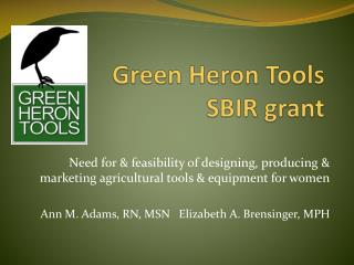 Green Heron Tools  SBIR grant