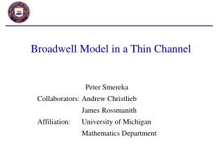 Broadwell Model in a Thin Channel