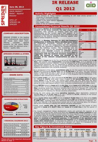 IR RELEASE Q1 2012