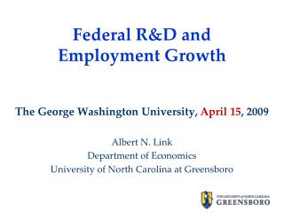 Federal R&D and Employment Growth