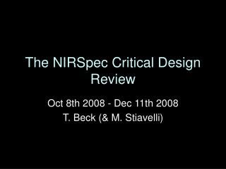 The NIRSpec Critical Design Review