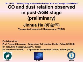 Jinhua He ( 何金华 ) Yunnan Astronomical Observatory (YNAO) Collaborators :