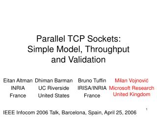 Parallel TCP Sockets:  Simple Model, Throughput  and Validation