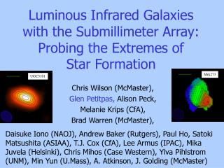 Luminous Infrared Galaxies with the Submillimeter Array: Probing the Extremes of  Star Formation