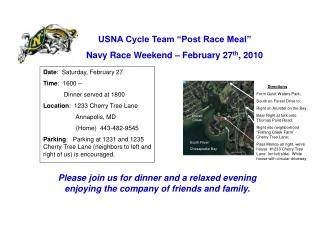 "USNA Cycle Team ""Post Race Meal""  Navy Race Weekend – February 27 th , 2010"