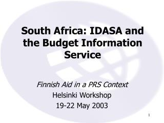 South Africa: IDASA and the Budget Information Service