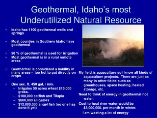 Geothermal, Idaho's most Underutilized Natural Resource